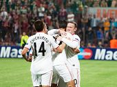 CLUJ-NAPOCA, ROMANIA - OCTOBER 2: Manchester team after scoring a goal, UEFA Champions League, CFR 1