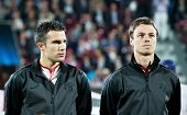 CLUJ-NAPOCA, ROMANIA - OCTOBER 2: van Persie and Evans in UEFA Champions League match between CFR 19