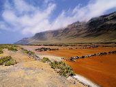 Famara Cliffs And Salinas Del Rio On Lanzarote