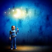 pic of goodnight  - Image of little cute girl with moon on rope - JPG