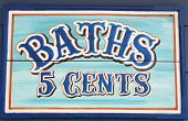 Sign for Baths 5 cents