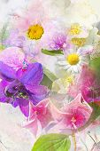 foto of lobelia  - A beautiful colorful summer flowers grungy background - JPG
