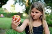 girl with red apple