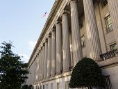 stock photo of treasury  - Treasury Building in Washington D - JPG