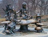 stock photo of alice wonderland  - sculpture of Alice in Wonderland in the Central Park of NYC - JPG