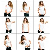 set of images with girl in white t-shirt
