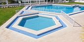 Pentagonal Summer Pool Outside. For A Vacation Getaway.