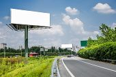 empty billboard on the sky background outdoor.