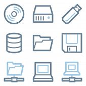 Drive and storage icons, blue line contour series
