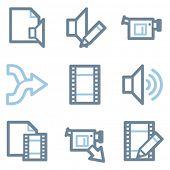 Audio video edit icons, blue line contour series
