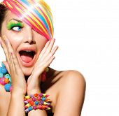 foto of nails  - Beauty Girl Portrait with Colorful Makeup - JPG
