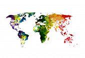 World Map Watercolor, easy editable