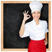 picture of chinese menu  - Chef showing menu blackboard and Perfect hand sign - JPG