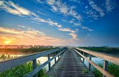 Charming Wooden Bridge Over River