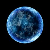 pic of full_moon  - round planet in cold blue lighted from the side - JPG