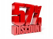 57 percent discount. Red shiny text. Concept 3D illustration.