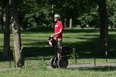 WASHINGTON, DC - JULY 29: A tour guide operates a Segway during a Segway tour along the National Mall on July 29, 2013 in Washington.