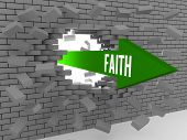 picture of overcoming obstacles  - Arrow with word Faith breaking brick wall - JPG