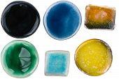 pic of raku  - Handmade glazed ceramic elements isolated on white - JPG