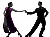 ein caucasian paar Mann Frau Ballroom Tänzer Tango in Silhouette Studio isolated on white bac