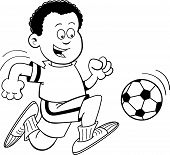 Cartoon Boy Playing Soccer (Black and White Line Art)