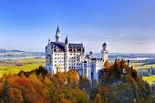 stock photo of bavaria  - Beautiful autumn view of the Neuschwanstein castle  - JPG