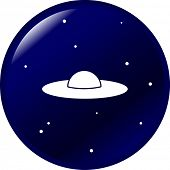 stock photo of ovni  - ufo ship button - JPG