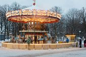 MOSCOW - DEC 9: Carousel with horses in Central Park of Culture and Rest named after Maxim Gorky Dec