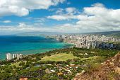 stock photo of waikiki  - Aerial view of Honolulu and Waikiki beach from Diamond Heat - JPG
