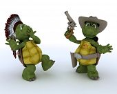 3D render of a tortoises as cowboy and indian