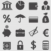 stock photo of bank vault  - Banking icons set - JPG