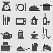 stock photo of stew pot  - Kitchen and household Utensil Icons set - JPG