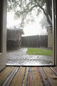 View of heavy rains in backyard through open house door