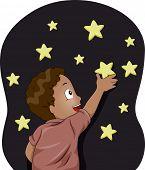 Illustration of Kid Boy sticking Glow-in-the-Dark Stars