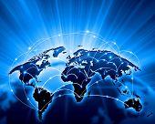 Azul imagen viva del globo. Concepto de la globalización