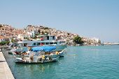 SKOPELOS, GREECE - JUNE 24: Boats moored in the harbour at Skopelos Town on June 24, 2013 on Skopelo