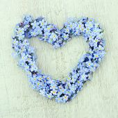 image of forget me not  - Heart shaped flower wreath of forget - JPG