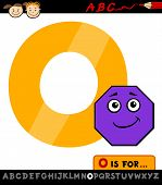 stock photo of octagon  - Cartoon Illustration of Capital Letter O from Alphabet with Octagon for Children Education - JPG