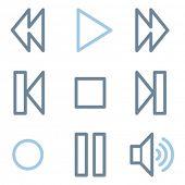 Walkman icons, blue line contour series
