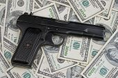 Black Gun With U.S. Hundred Dollar Bills
