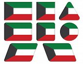 image of kuwait  - set of buttons with flag of Kuwait - JPG