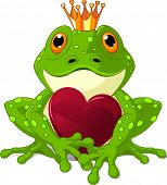 Frog Prince waiting to be kissed, holding a heart.. Raster version.