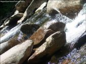 Water rushing over elegant rocks, and gently continues flowing