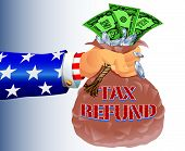 Uncle Sam Refunding Tax Money