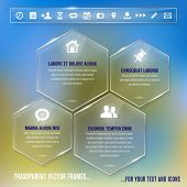 Glass Frames With Simple Icons - Infographics Template
