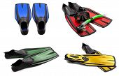 Set Of Multicolored Swim Fins, Mask, Snorkel For Diving With Water Drops