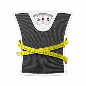 stock photo of obese  - Bathroom scale with measuring tape - JPG