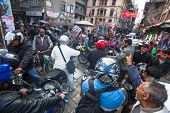 KATHMANDU, NEPAL - DEC 1: Traffic jam in one of a busy street in the city center, Dec 1, 2013 in Kat