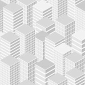 detailed illustration of a seamless cityscape background pattern, eps10 vector