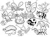 Bugs + 1 snail with background in black and white. Cartoon  vector illustration.